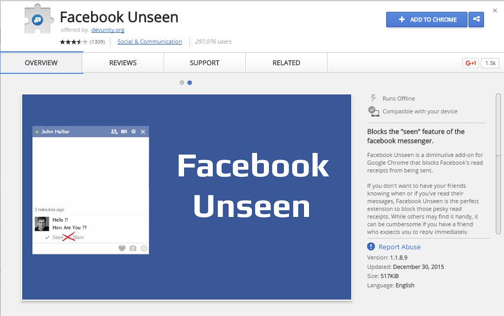 unseen facebook google chrome