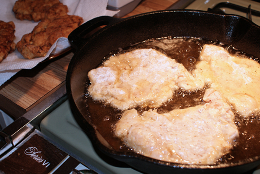 Chicken Fried Chicken fried in a cast iron skillet