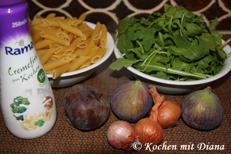 Zutaten Pasta mit Gorgonzola und Feigen