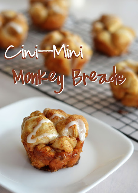 Miniature pull-apart monkey breads, covered in cinnamon sugar and vanilla icing. Life-in-the-Lofthouse.com