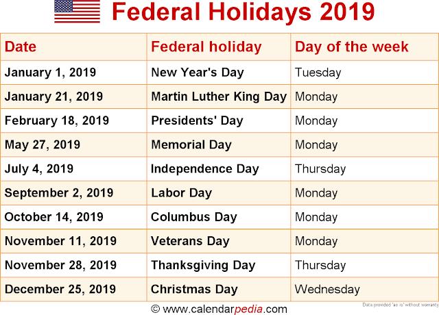 Feriados - 2019 - EUA