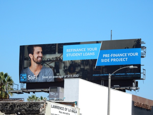 SoFi Refinance student loans Prefinance side project billboard