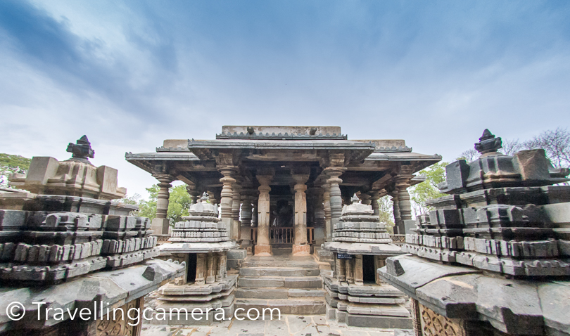 In front of these temples there is a large lake. The two Nandi  images on the sides of the Hoysaleshwara temple are monoliths and you can see one of them in above photograph. Soapstone  (chloritic schist) was used for the construction of these temples.