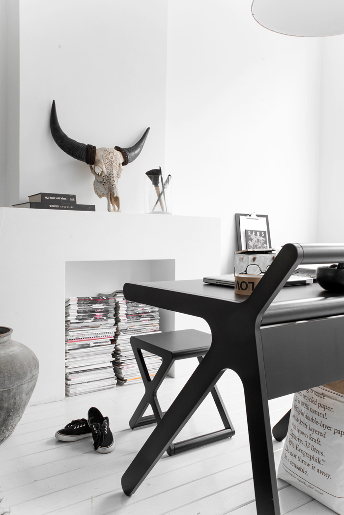 Black K desk and X stool  by Rafa-kids photo Paulina Arcklin