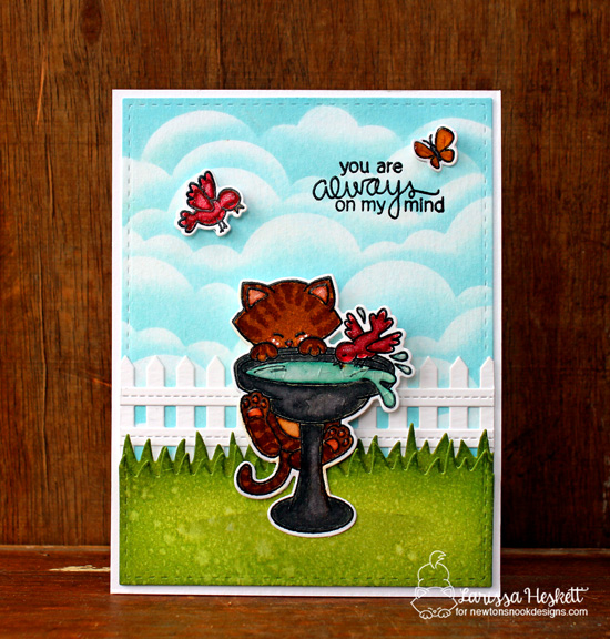 Cat on Birdbath Card by Larissa Heskett | Newton's Birdbath Stamp set by Newton's Nook Designs #newtonsnook
