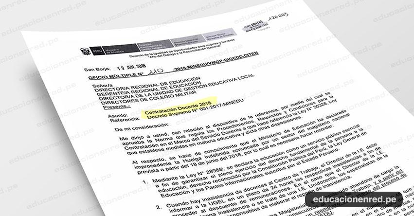 OFICIO MÚLTIPLE N° 110-2018-MINEDU/VMGP-DIGEDD-DITEN - Contratación Docente 2018 - www.minedu.gob.pe