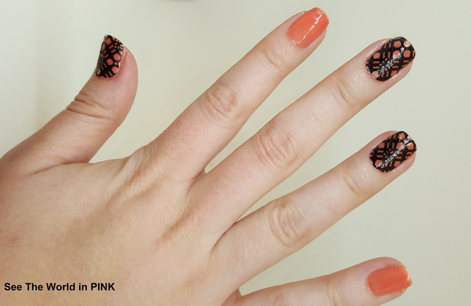 "Chanel ""Miami Peach"" and Sally Hansen Nail Stickers ""Black to Basics"""