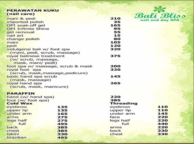 Bliss Nail Spa Prices
