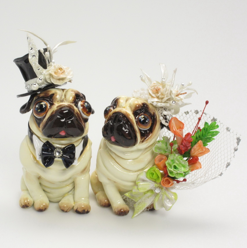 Madamepommcustomorder Pug Wedding Cake Topper