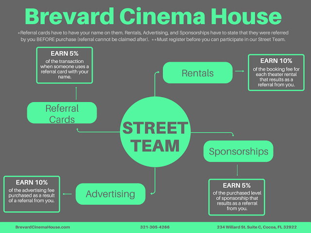 cinema in cocoa village hiring for street team