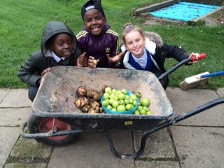 Children doing a Gardening session