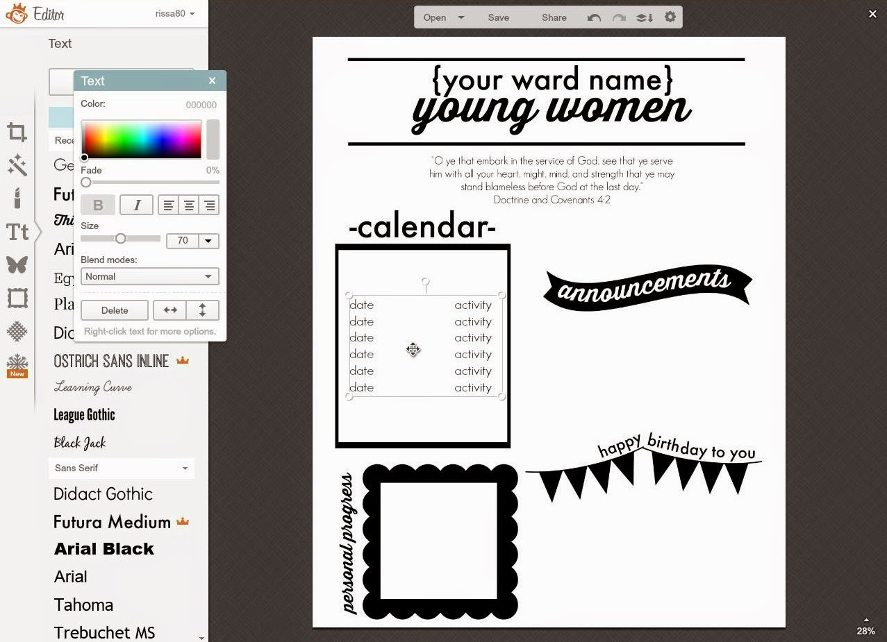 Larissa Another Day Young Women S Monthly Newsletter Template