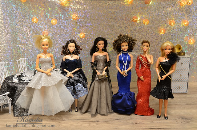 Barbie dolls in evening dresses.