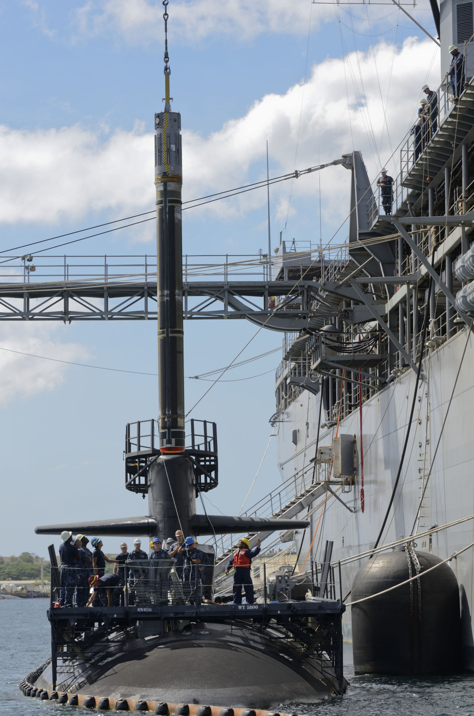 Loading Tomahawk Missile and MK48 Torpedoes SSN-723
