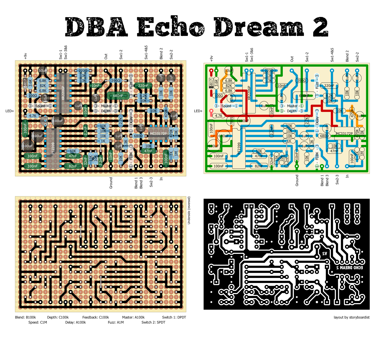 Audio Echo Perf And Pcb Effects Layouts Death By Audio Echo Dream 2