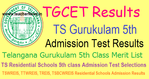 TS Gurukulam 5th Admission Test Results Manabadi Merit List 2018 @tgcet.cgg.gov.in
