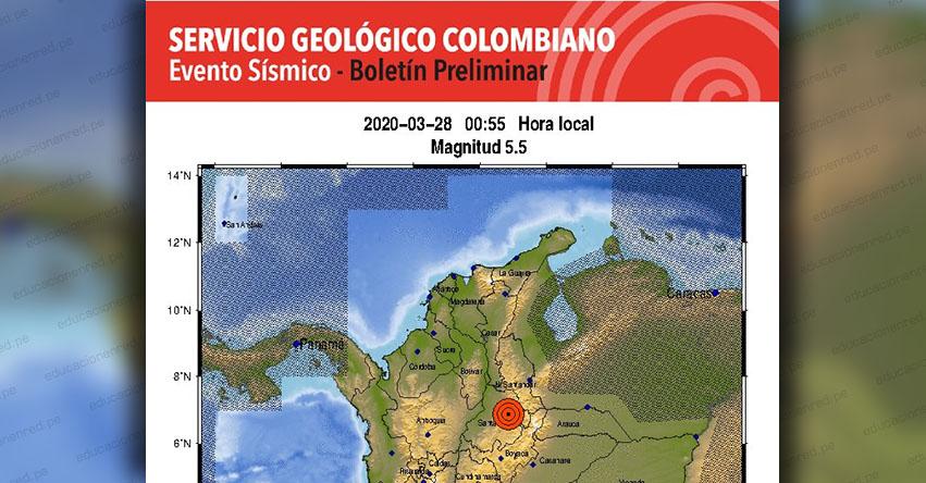 Temblor en Colombia de Magnitud 5.5 (Hoy Sábado 28 Marzo 2020) Terremoto - Sismo - Epicentro - Los Santos Santander - En Vivo Twitter - Facebook - www.sgc.gov.co