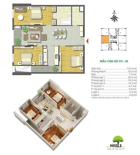 Thiết kế căn 02 - Chung cư N02T3 Ngoại Giao Đoàn Hà Nội