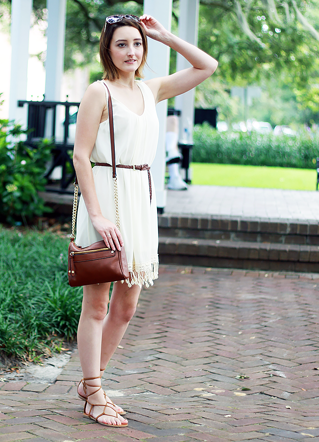 White Tassel Summer Dress Outfit