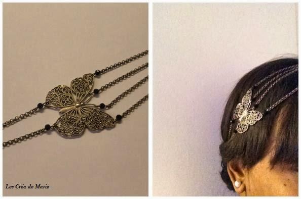 "Headband bijou de tête glamour "" Papillon """