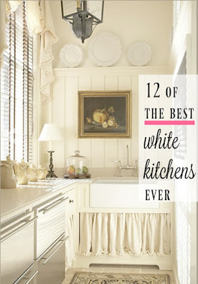 Gorgeous white modern farmhouse kitchen on Hello Lovely Studio