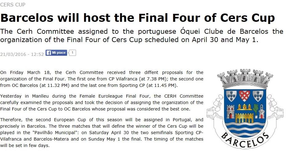 Final four da Taça CERS será em Barcelos e26a78766eedb