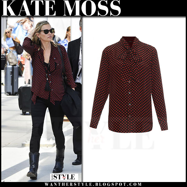 Kate Moss in red dot print equipment blouse and black jeans what she wore
