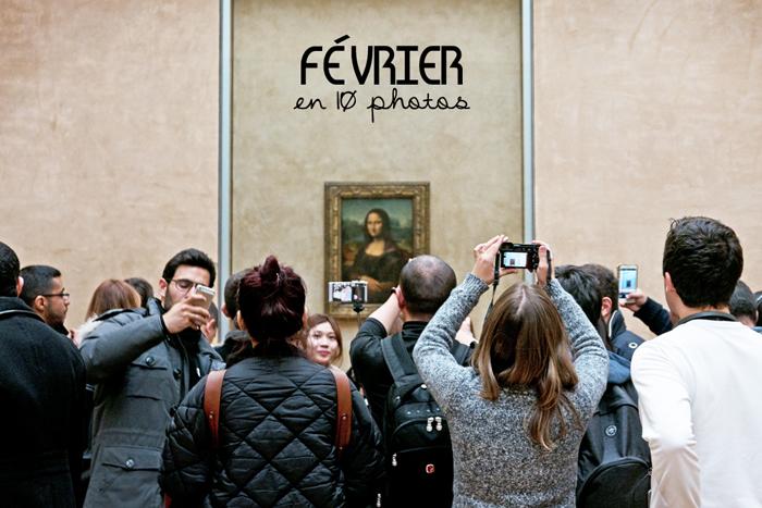 Mona Lisa, la Joconde est toute petite. Au premier plan une horde touriste la prennent en photo ou font des selfies
