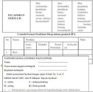 Contoh Instrumen Penilaian Otentik Kurikulum 2013 SD,Mi, SMP,MTs,SMA,SMK,MA