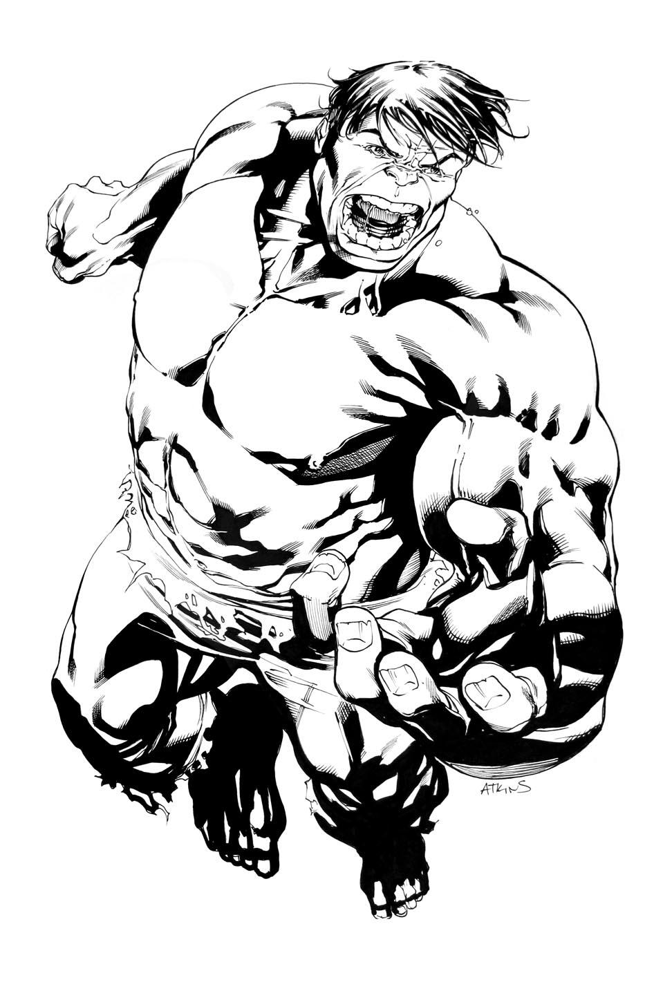 hulk commission by john byrne comic art. step 004b. hulk