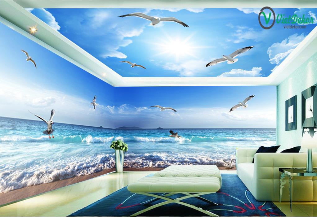 Tranh trần 3 cầu trời xanh mây trắng cò bay