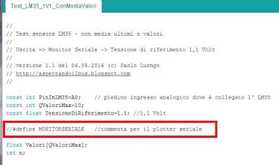 Fig. 6 - Se si commenta si compila lo sketch per il plotter seriale - Paolo Luongo