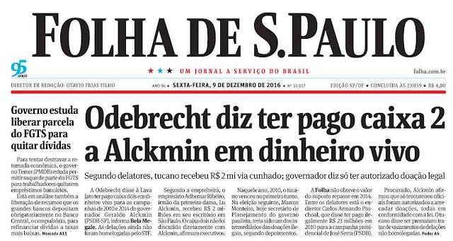 Odebrecht delata propina em dinheiro vivo para Alckmin