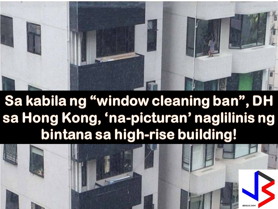 Working as Domestic Helpers in a foreign country is not an easy job. There are times that a worker is instructed to a work that already risks her life. Take for example this OFW in Hong Kong who puts her life in danger by cleaning window panes from a high-rise building.  In a Facebook post of Elpie Leba, a Hong Kong based-OFW, she shared some pictures of fellow OFW who is cleaning window panes in Grand Garden Building in South Bay.  In the photos, you can see how hard for the worker to clean the window with one hand while her other hand is holding inside to support her body not to fall.