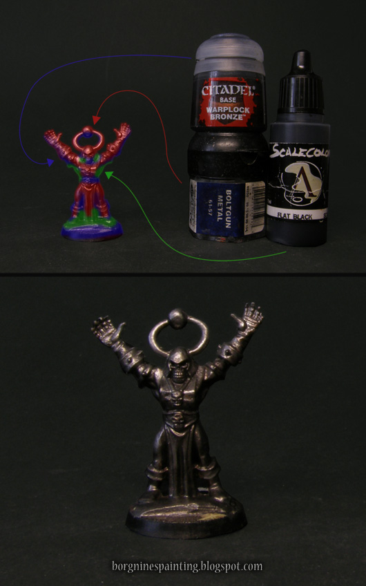 picture showing - through the use of colored overlays - various paints that need to be wetblended on a miniature as the basecoat.