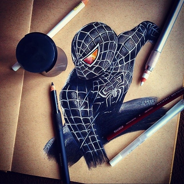 12-Spider-Man-Black-Suit-Chris-Superhero-and-Villain-Realistic-Pencil-Drawings-www-designstack-co