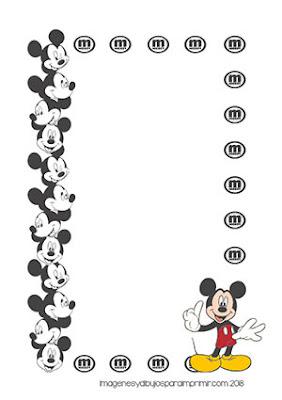 Hojas para escribir de mickey mouse