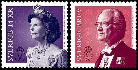 Resultado de imagem para selo de  rei Carlos XVI Gustavo da Suécia