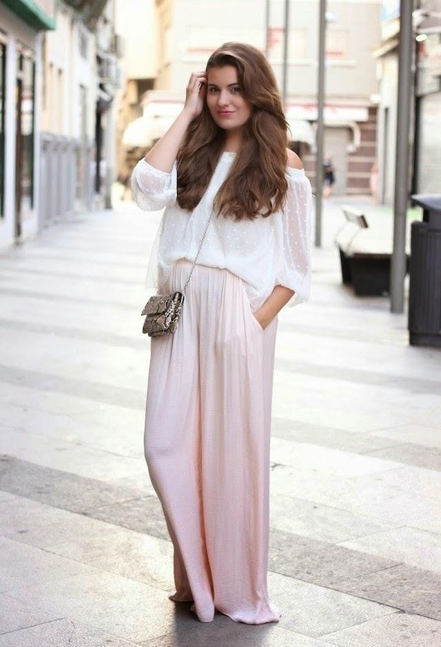 Wearing a Pink Blush Palazzo Trousers