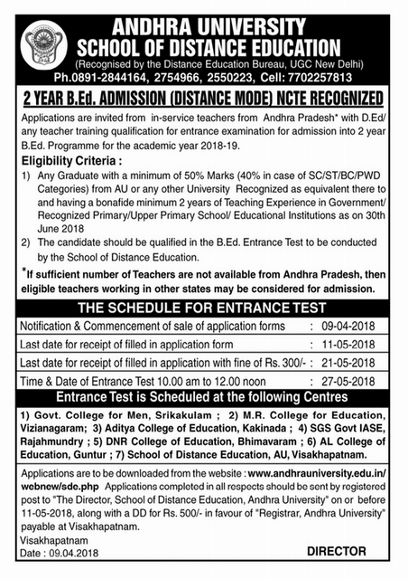 A.U Distance B.Ed Entrance examination 2018 Notification, Syllabus, Application form