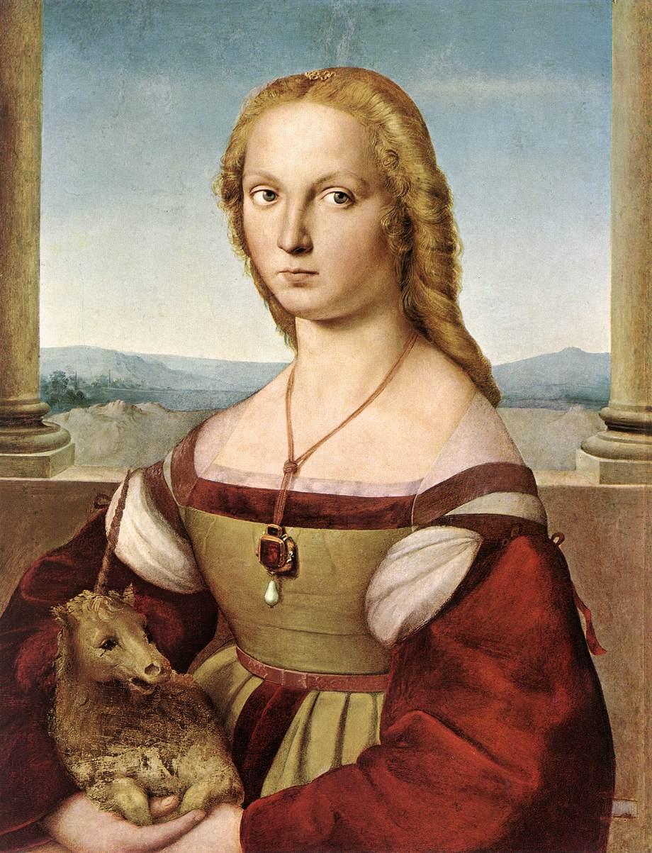 Raffaello Sanzio, ritratto di giovane donna con unicorno