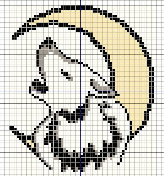 Buzy Bobbins White Wolf Howling At A Crescent Moon Cross Stitch Design