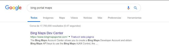 Como obtener la llave de Bing Mapas