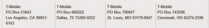 T - Mobile store address for Payment using Mail service