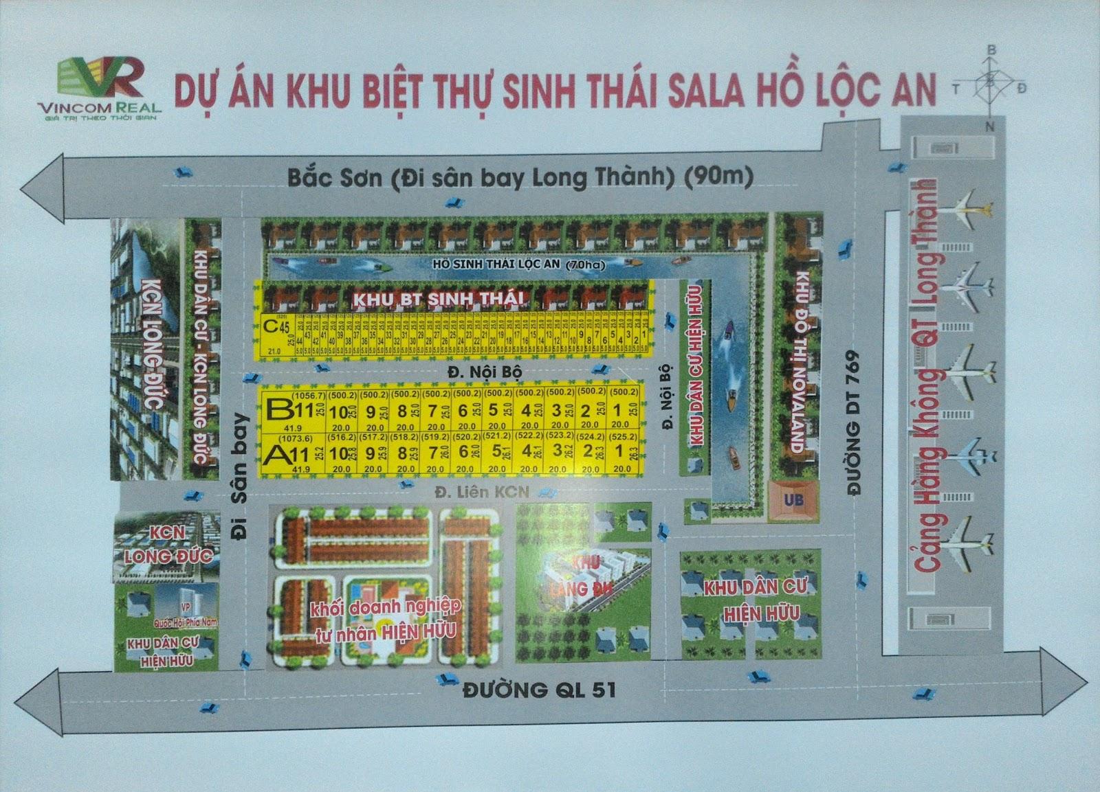 Sơ đồ phân lô khu biệt thự sinh thái Sala Hồ Lộc An Long Thành Đồng Nai