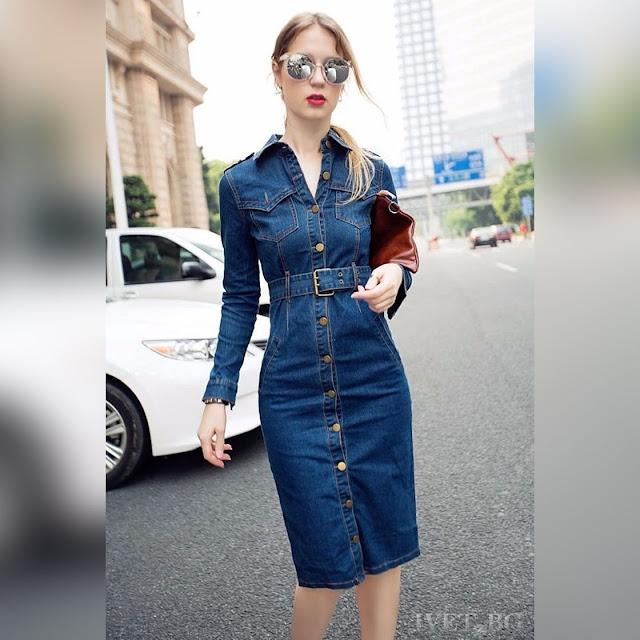 Μακρυμάνικο μπλε τζιν φόρεμα KSENIJA