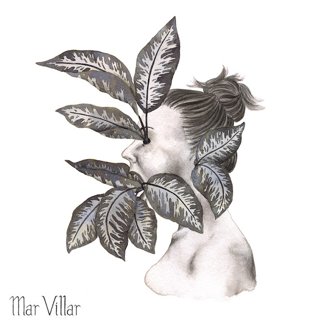 Inktober, Inktober 2016, plantas, diefembaquia, ilustración a tinta, silueta humana, tinta, aguada de tinta, quink, tinta parker