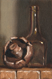 Oil painting of a brown mushroom beside a small long-necked bottle.