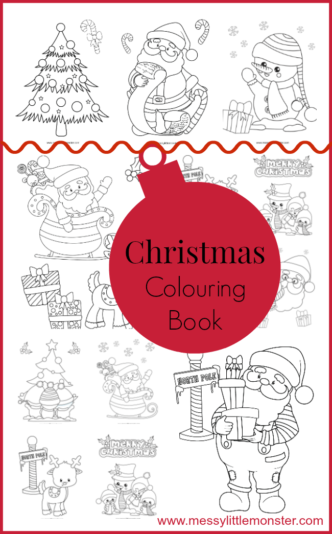 Printable Christmas colouring pages to download (for free) and print out.  The free printables include Santa, reindeer, snowmen and Christmas trees. Great for toddler,  preschoolers and older kids and as part of a Christmas or Winter project.