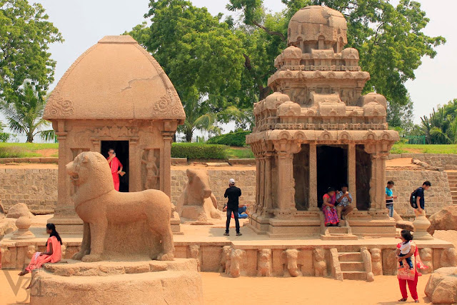 Draupadi Ratha (left) and Arjuna Ratha (right) along with monolithic structures of Lion (front) and bull (behind)